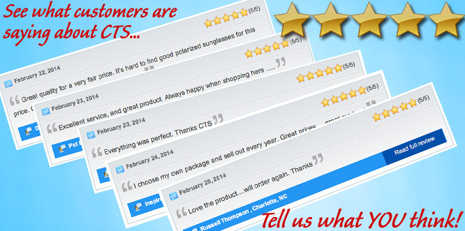 Customer Reviews at CTS Wholesale Sunglasses