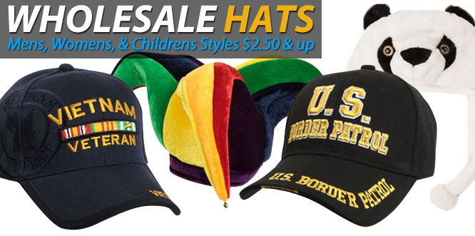 Wholesale Hats Mens, Womens, & Childrens Styles $2.50 & up