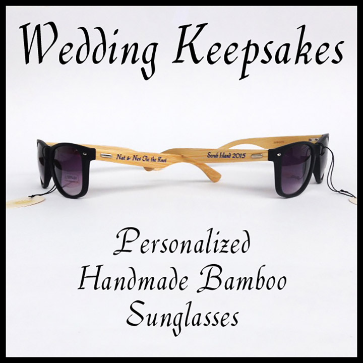 Bamboo Personalized Wedding Sunglasses